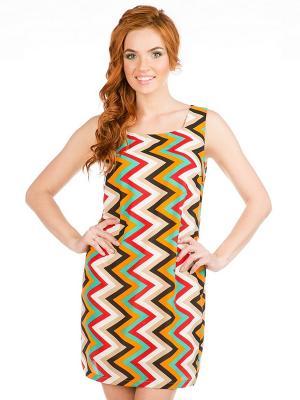 Платье VENUSITA. Цвет: бежевый, красный, коричневый