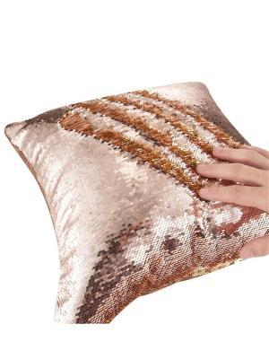 Подушка с пайетками  декоративная GOOD MOOD, коллекция Magic Shine MOOD. Цвет: светло-оранжевый, золотистый