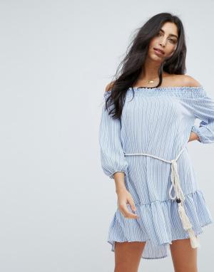 Surf Gypsy Пляжное платье в полоску с открытыми плечами. Цвет: мульти