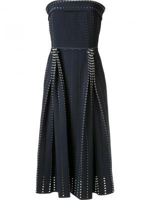Плиссированное перфорированное платье Dion Lee. Цвет: чёрный
