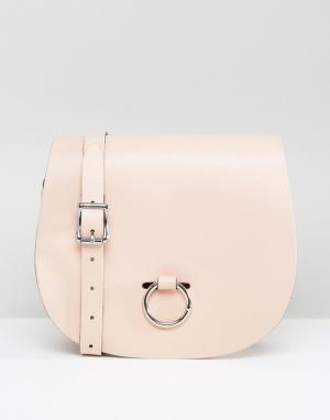 Leather Satchel Company Сумка с застежкой-кольцом. Цвет: розовый