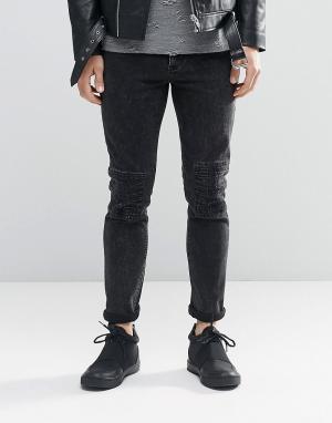 ASOS Черные джинсы скинни с прорехами и декоративной строчкой. Цвет: черный