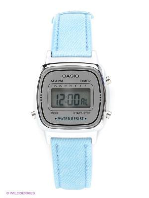 Часы CASIO. Цвет: голубой, серебристый