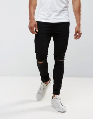 River Island Черные супероблегающие джинсы с рваными коленями. Цвет: черный