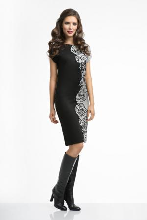 Платье Олмис. Цвет: серо-черный