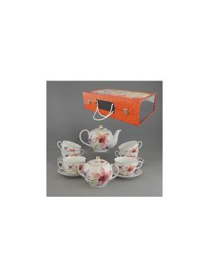 Набор чайный 14 пр.ЦВЕТОК ОРХИДЕИ 850мл/250мл BRISWILD. Цвет: белый