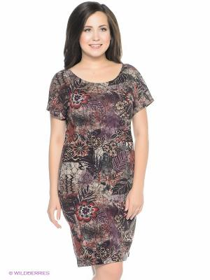 Платье СТиКО. Цвет: серый, фиолетовый