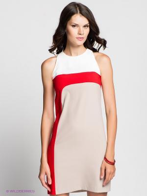 Платье Verezo. Цвет: бежевый, красный