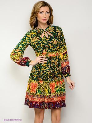 Платье FRENCH HINT. Цвет: зеленый, бордовый, розовый, желтый