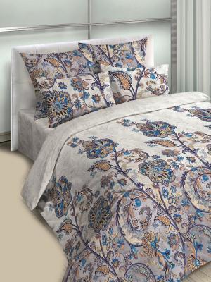 Комплект постельного белья, евро, бязь, пододеяльник на молнии Letto. Цвет: бежевый, желтый, синий, серый