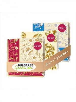 Набор Классика из 3 упаковок трехслойных салфеток с ярким принтом, 3х20шт Bulgaree Green. Цвет: золотистый