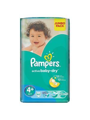 Подгузники Active Baby-Dry 9-16 кг, 4+ размер, 62 шт. Pampers. Цвет: зеленый
