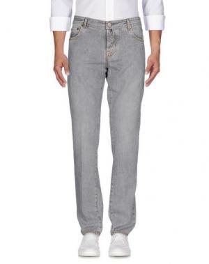 Джинсовые брюки LUIGI BORRELLI NAPOLI. Цвет: серый