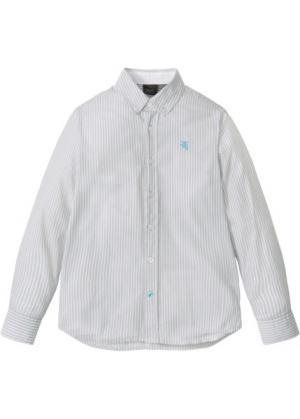 Рубашка с длинным рукавом в полоску (серебристый матовый/белый полоску) bonprix. Цвет: серебристый матовый/белый в полоску