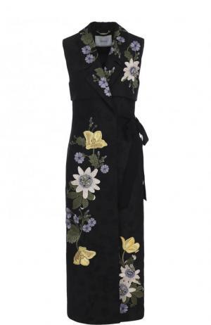 Удлиненный приталенный жилет с цветочной вышивкой Erdem. Цвет: черный