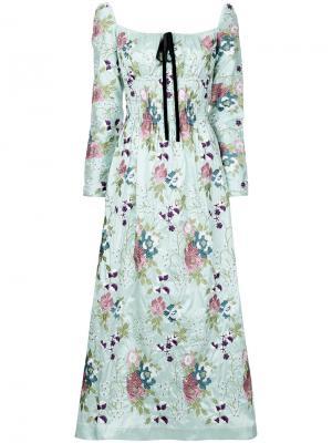 Присборенное платье с вышитым узором N Duo. Цвет: зелёный