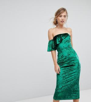 True Violet Бархатное платье миди с оборками. Цвет: зеленый