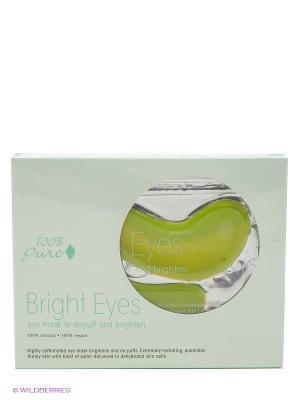 Набор восстанавливающих масок для глаз: Сияние, 5 шт по 8гр 100% Pure. Цвет: салатовый