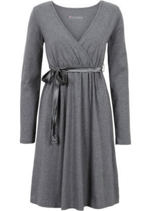 Мода для беременных: платье с функцией кормления (серый меланж) bonprix. Цвет: серый меланж