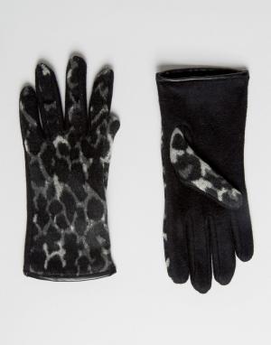 Boardmans Перчатки с леопардовым принтом. Цвет: черный