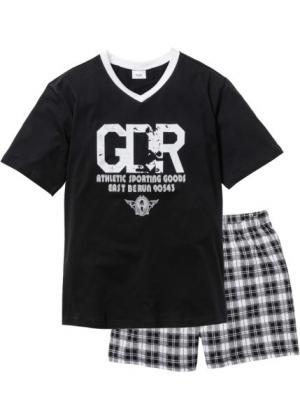 Пижама с  шортами (черный/белый) bonprix. Цвет: черный/белый