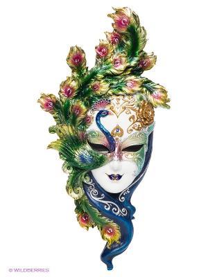 Венецианская маска Павлин Veronese. Цвет: зеленый, золотистый, белый, синий