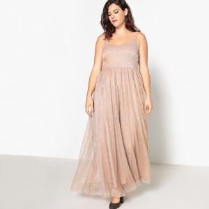 Платье однотонное длинное на тонких бретелях CASTALUNA. Цвет: розовый золотистый