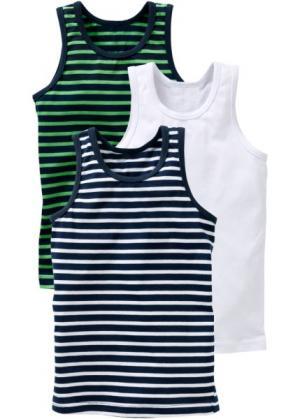 Майка для мальчика (3 шт.) (темно-синий/зеленый/белый) bonprix. Цвет: темно-синий/зеленый/белый