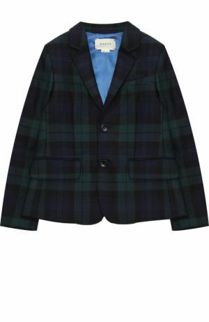 Шерстяной однобортный пиджак в клетку Gucci. Цвет: зеленый