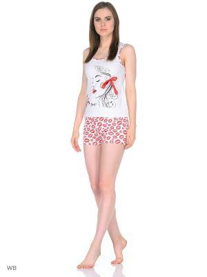 Пижама-майка,шорты NAGOTEX. Цвет: белый, красный