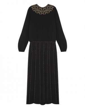 Шелковое платье Valentino. Цвет: черный