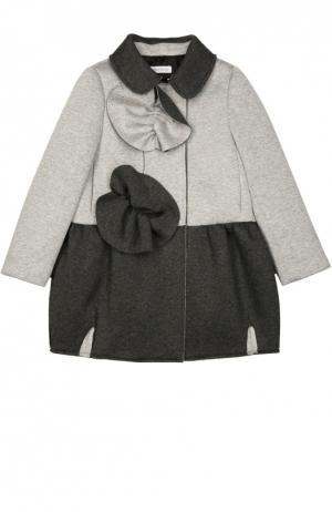 Пальто с отложным воротником и контрастной отделкой I Pinco Pallino. Цвет: серый