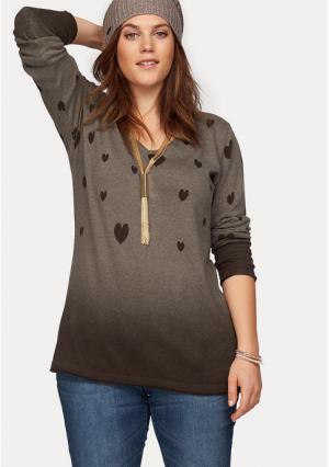 Пуловер BOYSENS BOYSEN'S. Цвет: коричневый/с рисунком