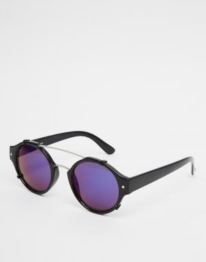 Spitfire Круглые солнцезащитные очки с зеркальными стеклами Flick. Цвет: черный