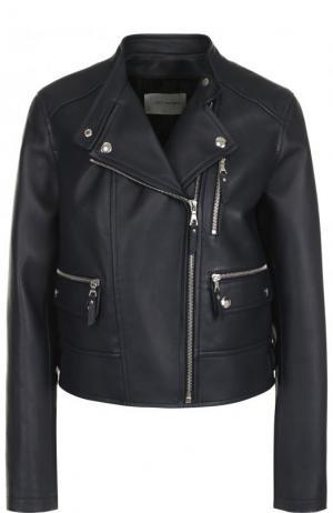 Укороченная кожаная куртка с косой молнией Yves Salomon. Цвет: темно-синий