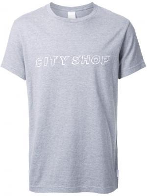 Футболка с принтом-логотипом Cityshop. Цвет: серый