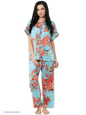 Пижама Natori. Цвет: бирюзовый, коралловый