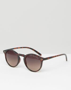 Black Phoenix Круглые солнцезащитные очки Havana. Цвет: коричневый