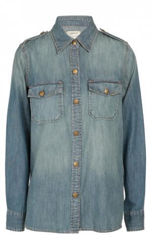 Джинсовая блуза прямого кроя с накладными карманами и погонами Current/Elliott. Цвет: синий