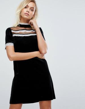 Fashion Union Платье с оборками и высоким воротом. Цвет: черный