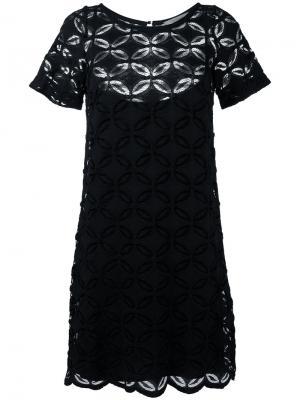 Платье-шифт с вышитым цветочным узором D.Exterior. Цвет: синий
