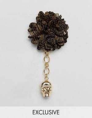 Noose & Monkey Черно-золотистая булавка на лацкан. Цвет: черный