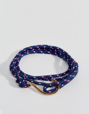 Seven London Синий браслет в несколько оборотов с золотистым крючком. Цвет: синий