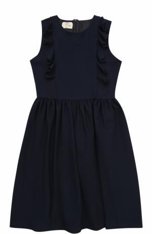 Платье из вискозы с оборками без рукавов Caf. Цвет: темно-синий