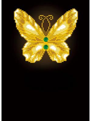 Алмазная мозаика Бабочка на черном фоне с зелеными камнями Цветной. Цвет: белый