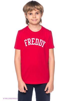Футболка Freddy. Цвет: красный