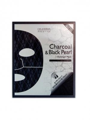 Гидрогелевая маска Сel-Derma Prestige Charcoal and black pearl 32 гр.*4 шт.. Цвет: черный, белый, серый