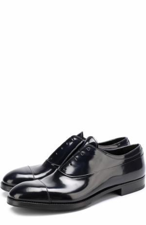 Классические кожаные оксфорды без шнуровки Premiata. Цвет: темно-синий