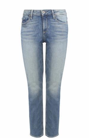 Укороченные джинсы с потертостями Paige. Цвет: голубой