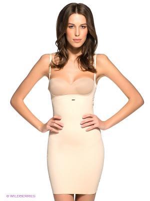Нижнее платье с глубоким вырезом под бюст со встроенным боди Charmante. Цвет: кремовый